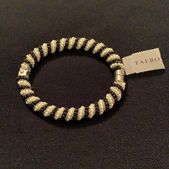 Black, Silver & White Pearl Beaded Bracelet